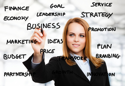 Woman writing business related words